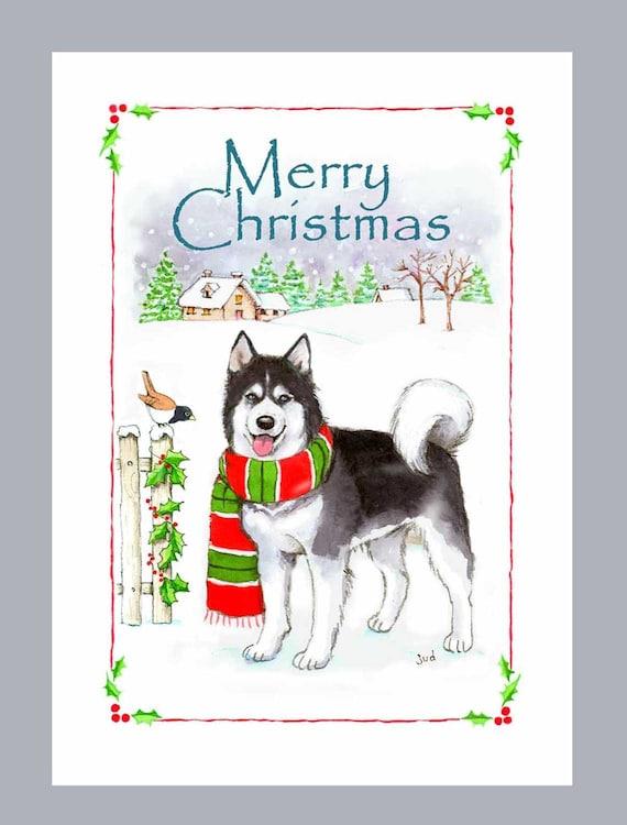 Husky Christmas Cards.Siberian Husky Christmas Cards