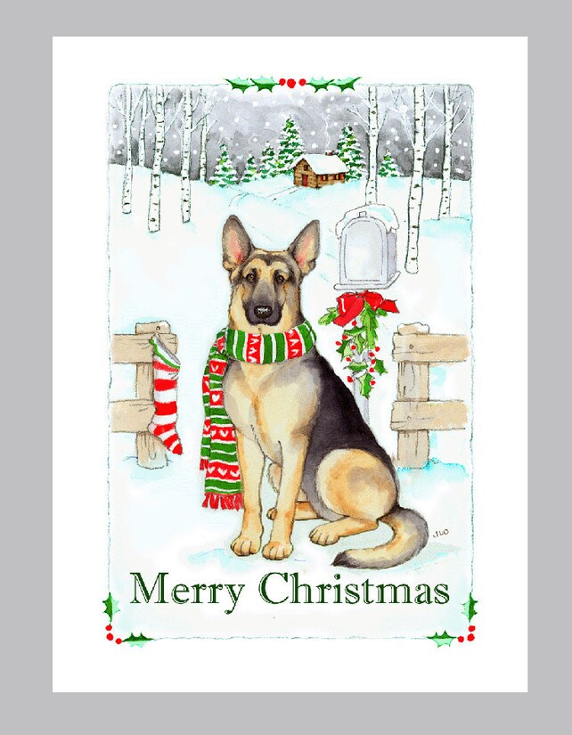 German shepherd dog christmas cards box of 16 cards and etsy image 0 m4hsunfo