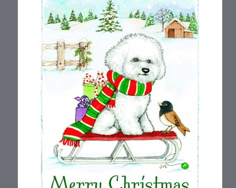 Bichon Frise Dog Christmas Card Box of 16 Cards and 16 Envelopes