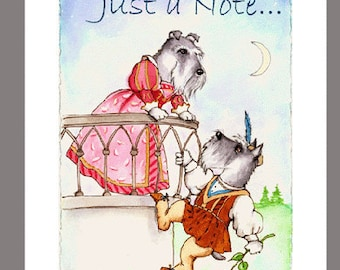 """Schnauzers as Romeo & Juliet on a balcony,  Box of 16  Blank Note Cards 5""""x7"""" with 16 white  envelopes, printed on recycled paper"""