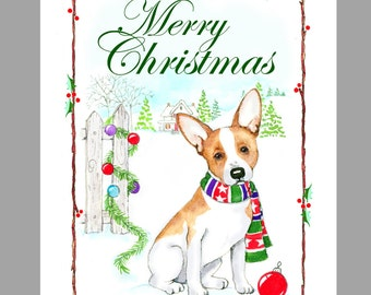 Rat Terrier Christmas Cards, Box of 16 Cards with 16 white envelopes