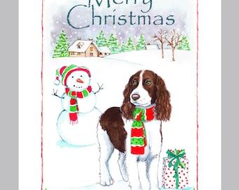 English Springer Spaniel Christmas Card Box of 16 Cards & Envelopes