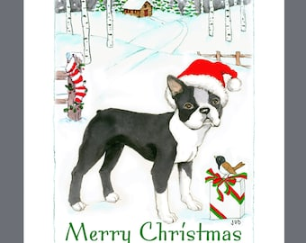 Boston Terrier Dog Christmas Cards Box of 16 Cards and 16 Envelopes