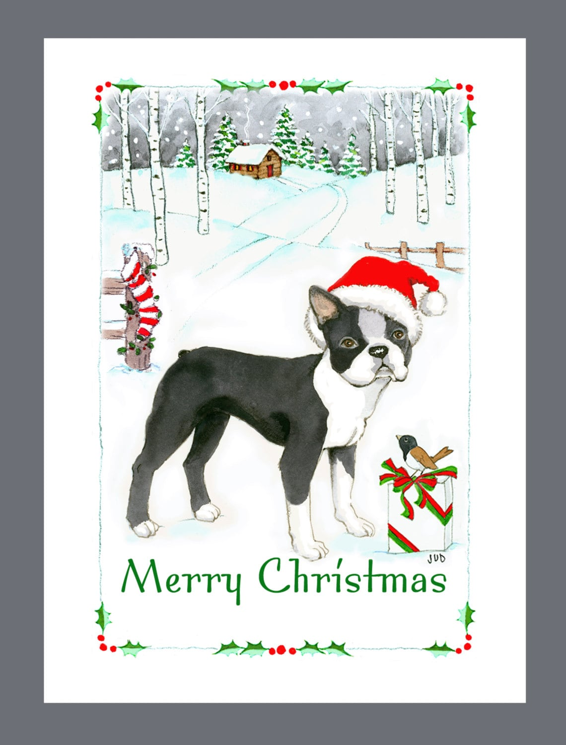 Boston Terrier Dog Christmas Cards Box of 16 Cards and 16 | Etsy