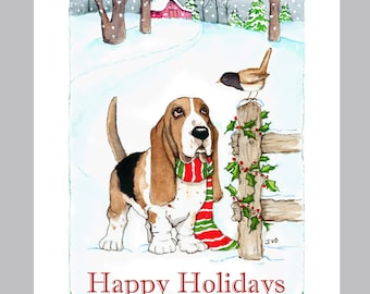 Basset Hound Christmas Cards Box of 16 Cards & Envelopes