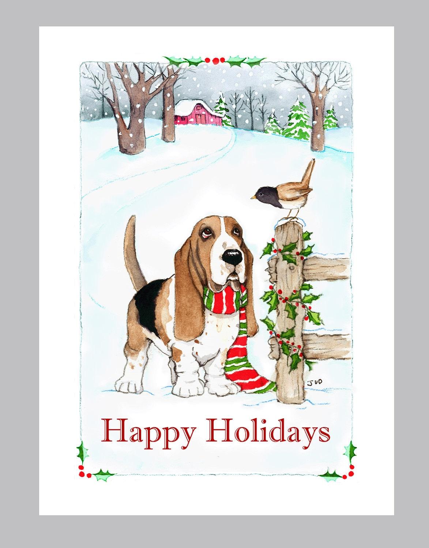 Basset Hound Christmas Cards Box of 16 Cards & Envelopes | Etsy