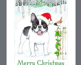 """French Bulldog """"Black & White"""" Christmas Cards Box of 16 Cards and 16 Envelopes"""