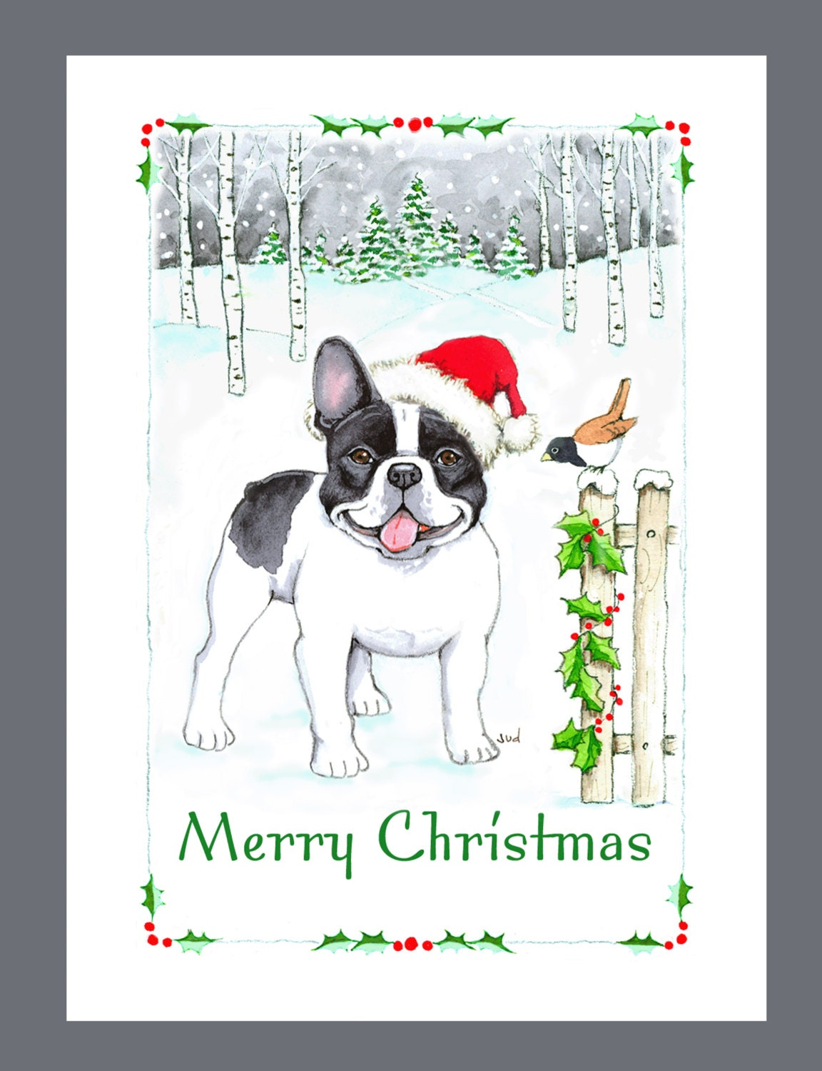 French Bulldog Black & White Christmas Cards Box | Etsy