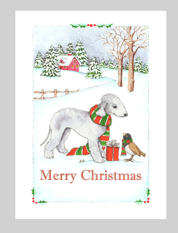 Bedlington Terrier Christmas Cards Box of 16 | Etsy
