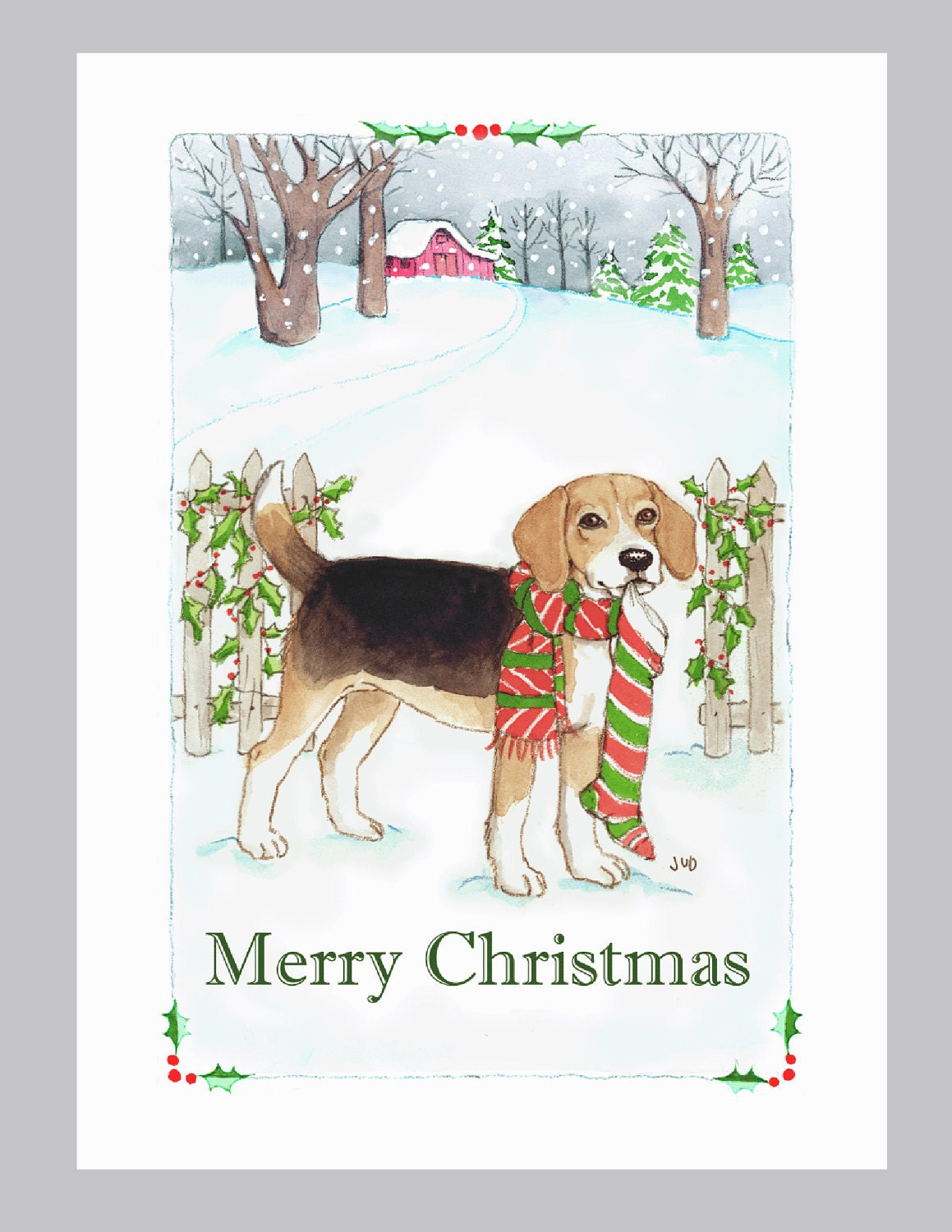 Beagle Christmas cards box of 16 in a snowy scene | Etsy