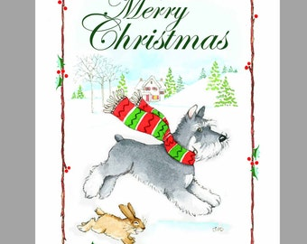 Schnauzer Christmas cards, Box of 16 Cards with 16 White Envelopes
