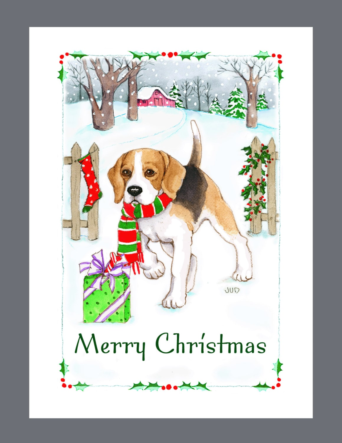 Beagle Dog Christmas cards box of 16 Cards and 16 Envelopes | Etsy