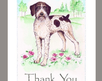 """German Wirehaired Pointer in a Field of Flowers & Trees, 16 Blank Note Cards, 5""""X7"""" with 16 white envelopes."""