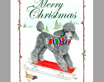 Poodle, Black, Christmas Cards Box of 16 Cards and 16 Envelopes