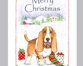 Basset Hound Christmas Cards Box of 16 Cards and Envelopes