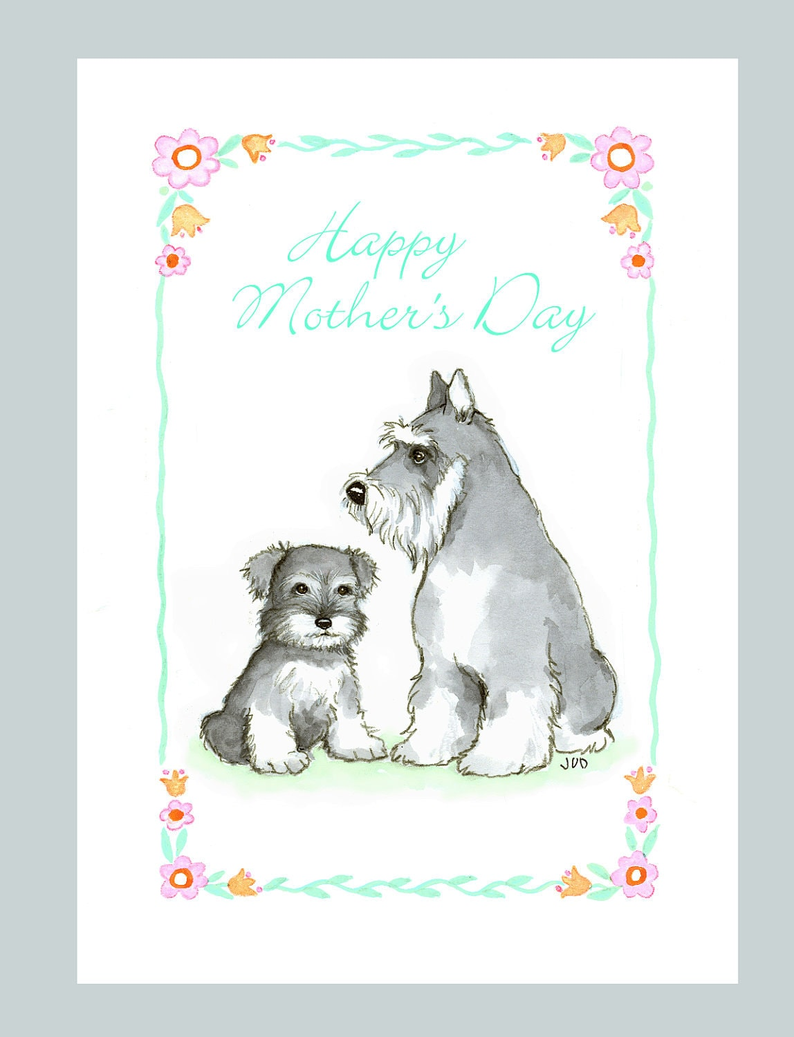 Schnauzer Mother\'s Day Card | Etsy