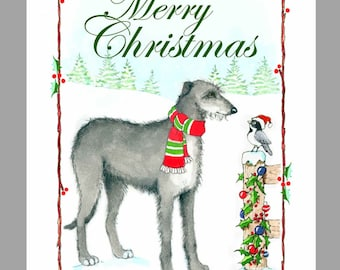 Scottish Deerhound Christmas Cards, Box of 16 Cards and 16 Envelopes