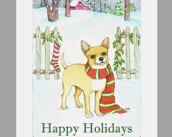 Chihuahua Christmas Cards Box of 16 Cards and 16 white Envelopes