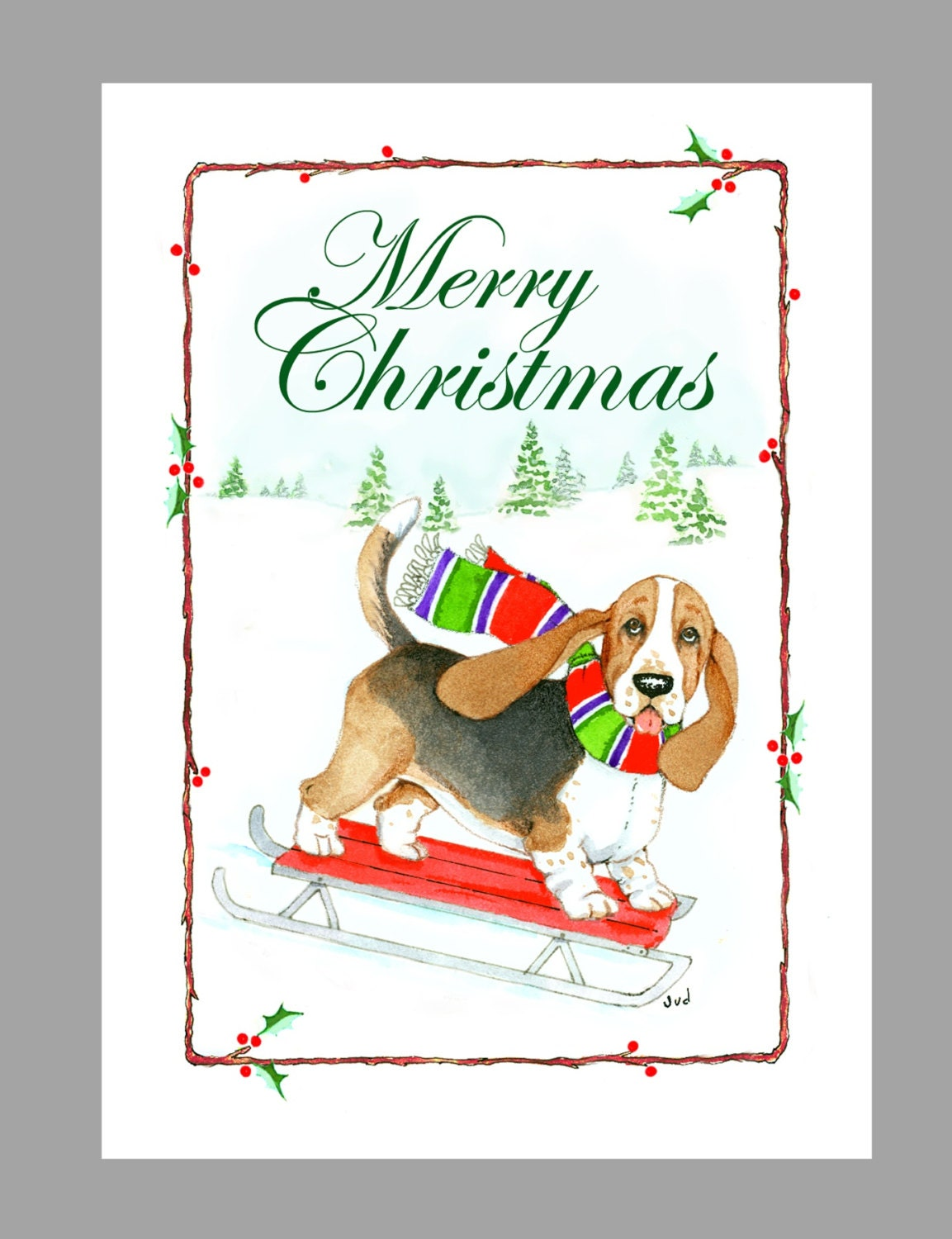 Basset Hound Christmas Cards Box of 16 Cards and 16 White | Etsy