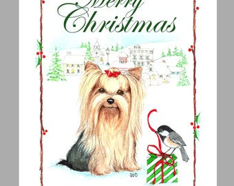 Yorkshire Terrier Christmas Cards, Box of 16 Cards and 16 Envelopes