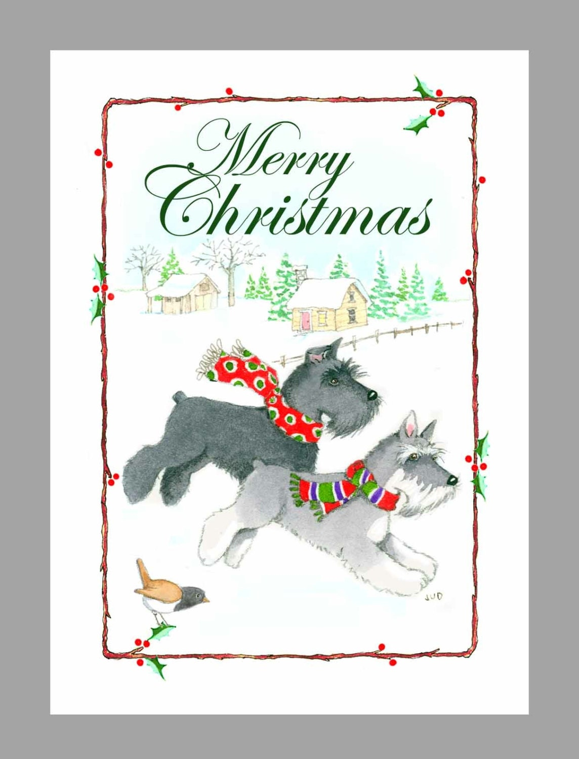 Schnauzer Christmas Cards Box of 16 Cards with 16 White | Etsy