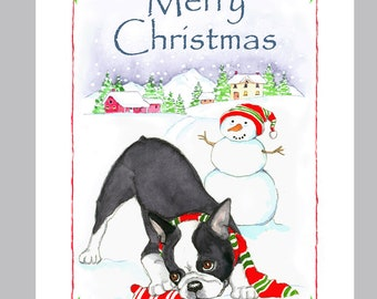 Boston Terrier Christmas Cards Box of 16 Cards & Envelopes