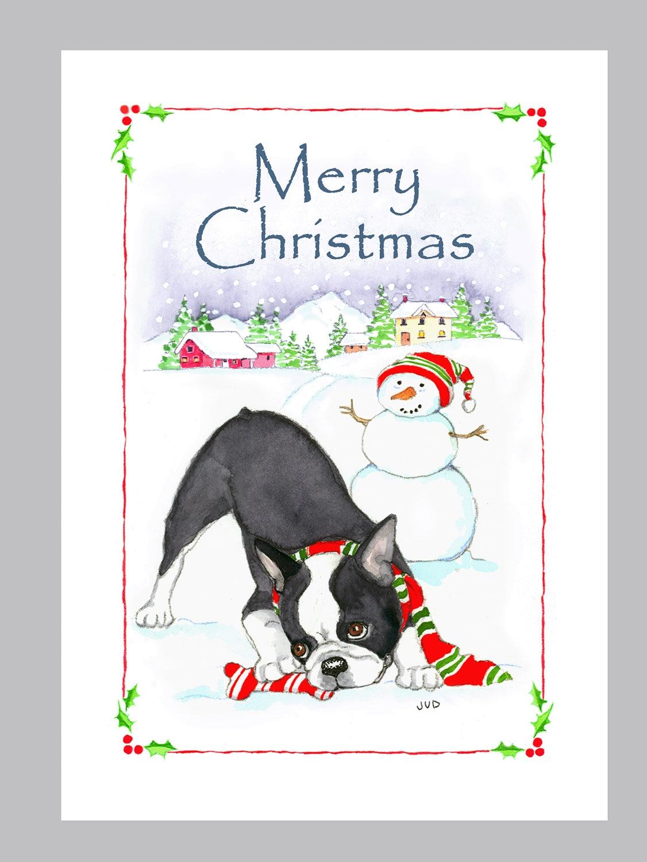 Boston Terrier Christmas Cards Box of 16 Cards & Envelopes | Etsy