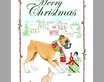 Boxer Dog Christmas Cards, Box of 16 Cards and 16 Envelopes