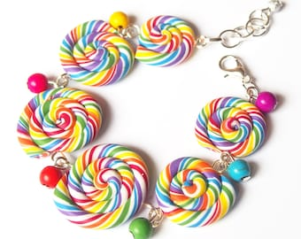 Rainbow Bracelet Lollipop Bracelet ( swirl bracelet miniature food polymer clay food bracelet colourful bracelet gift for her funny jewelry)