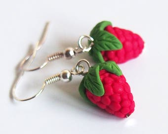 Raspberry Earrings food earrings ( red earrings fruit earrings fake food summer earrings miniature raspberry mini food)
