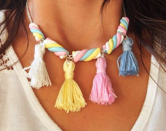 Marshmallow Tassel Necklace ( marshmallow mini food necklace pastel necklace polymer clay jewelry pink necklace gift for girl)