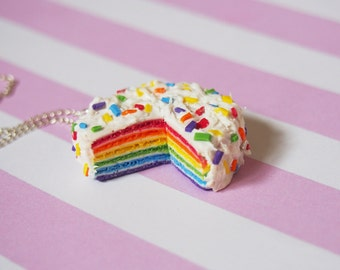 Rainbow Cake Pendant ( rainbow necklace kawaii jewelry mini food jewelry miniature food polymer clay food jewelry mini food necklace )