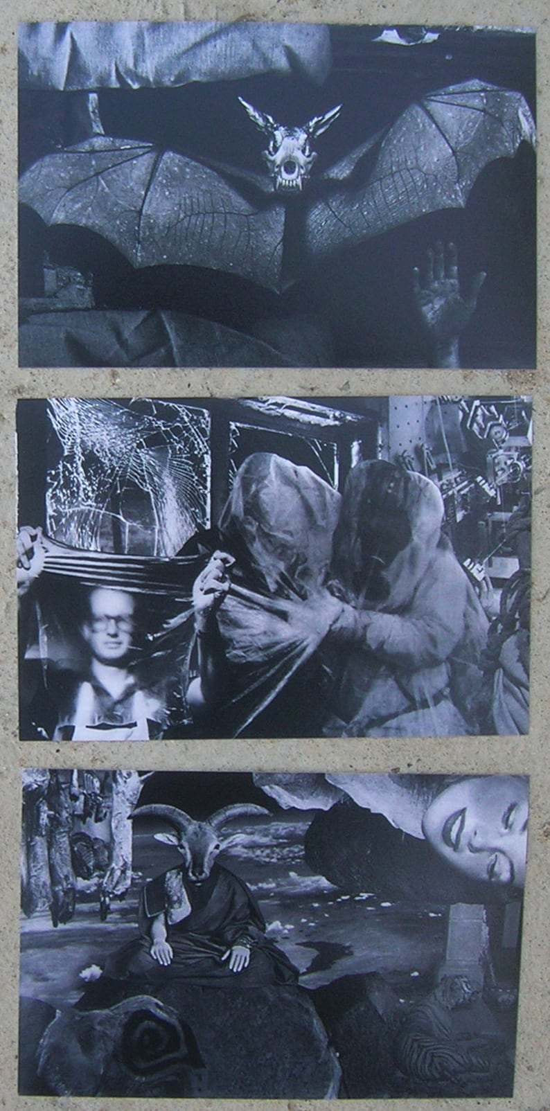 Surrealistic Dada Collage Art - 4 X 6 inch postcards - 5 photo card set -  Esoteric Collage Art by Danger
