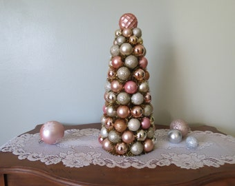 """Christmas Tree Centerpiece TABLE top Tree 17"""" Shatterproof Rose Gold Champagne  Christmas Centerpiece Decor"""