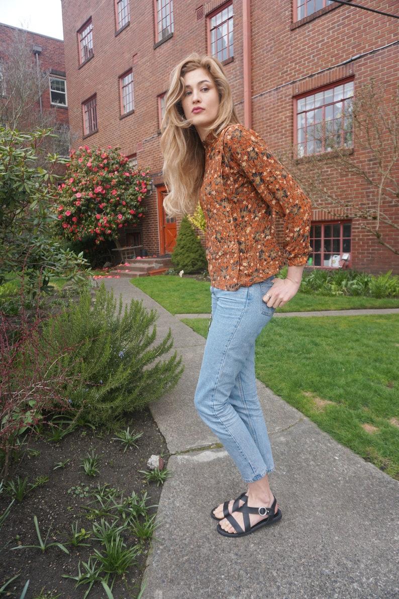 228010d204af4 Rust colored floral silk blouse
