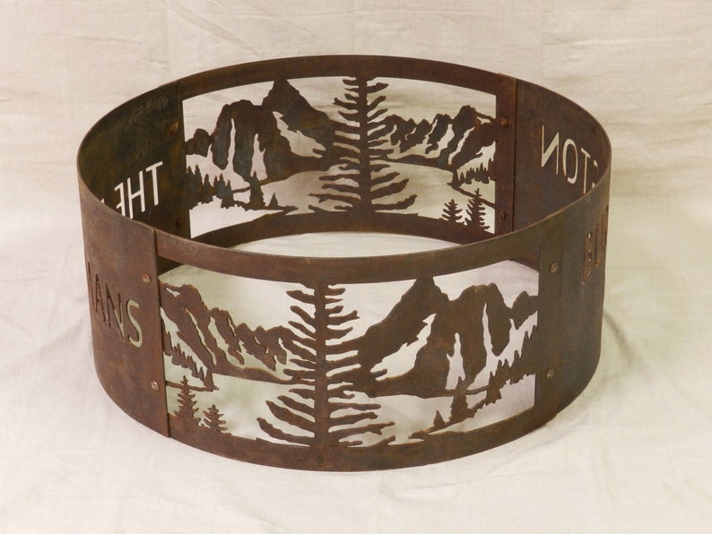 Portable Personalized Fire Ring Fire pit Mountain Lake Design