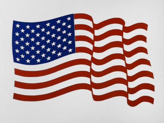Waving American Flag Metal Wall Art