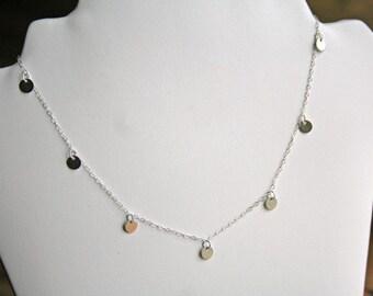 Petite Silver Disc Necklace. Sterling Silver Necklace. Bridesmaids Necklace. Wedding. Bridal. Minimalist. Silver Necklace. Disc Necklace.Mum