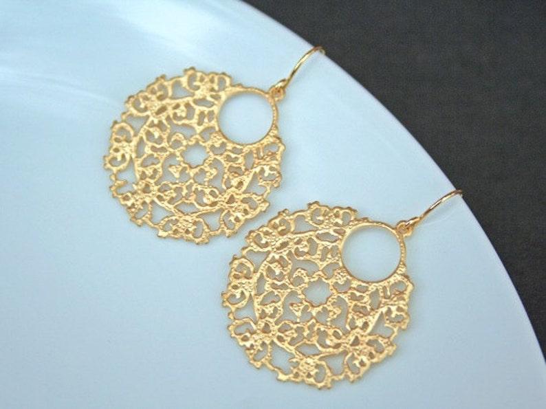 Simple Earrings Self Care.Friendship Gift Minimalist Gift for Her Moroccan Disc Earrings Gold Circle Earrings Bohemian Boho Earrings