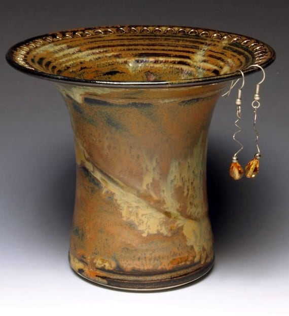 Barb Lund Pottery Earring Holder Waterfall Brown