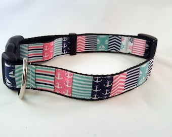 Dog Collar - Adjustable - Pink and Blue Anchors Nautical Print
