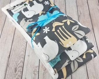 Baby Burp Cloth Set - Jungle - Hippos, Elephants, Giraffes