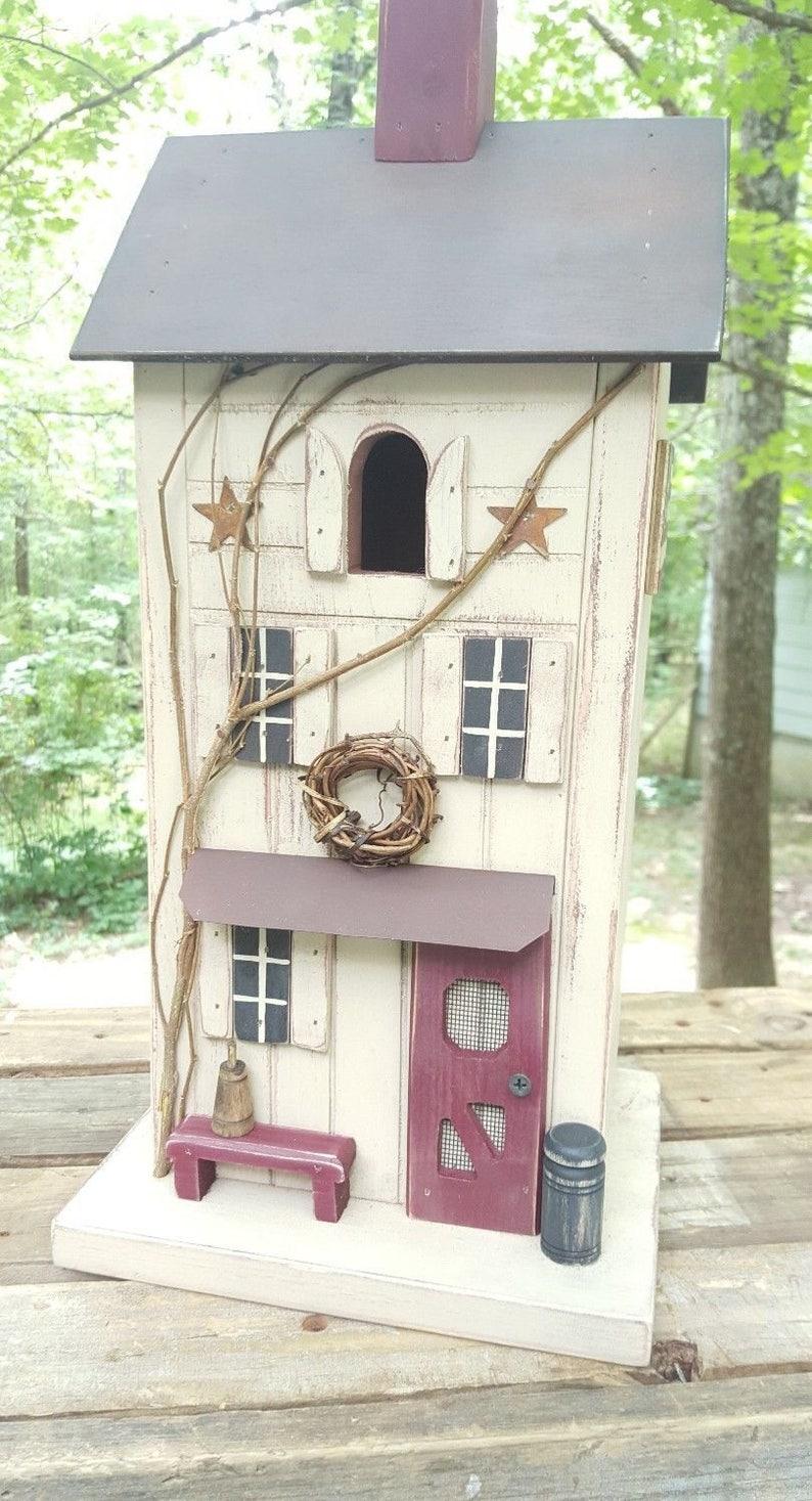 Primitive Birdhouse Primitive Farmhouse Folk Art Functional Birdhouse Farmhouse Decor Garden Decor Farmhouse Birdhouses