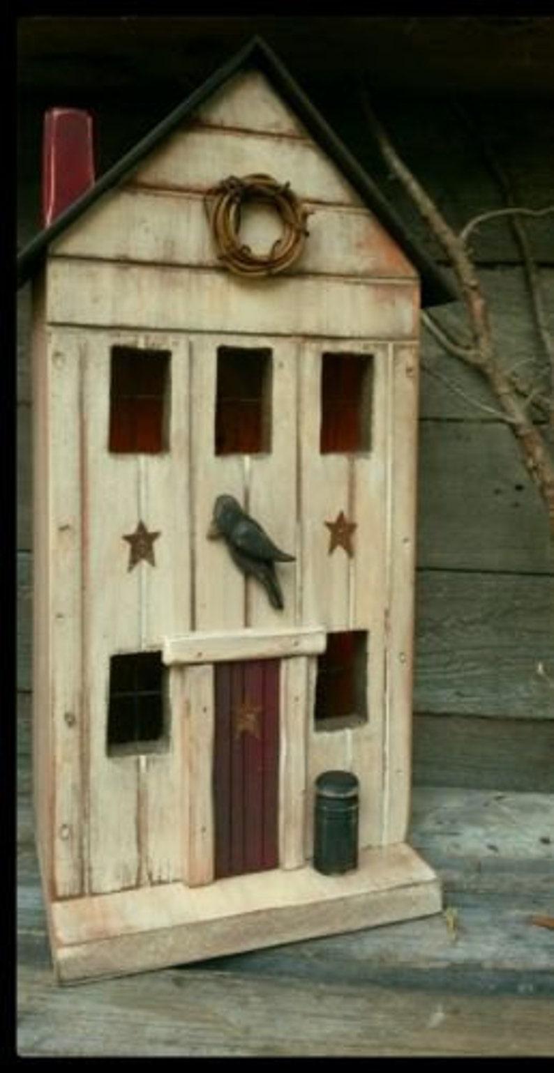 Primitive Birdhouse Primitive Farmhouse Primitive Crow Black Crow Folk Art Lighted House Rustic Birdhouse Farmhouse Decor Primitives