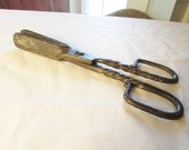 Antique Blacksmith Made Hand Forged Ember Tongs Twist Handle 18th century 19th century Fireplace Tool Hearth Equipment 6419