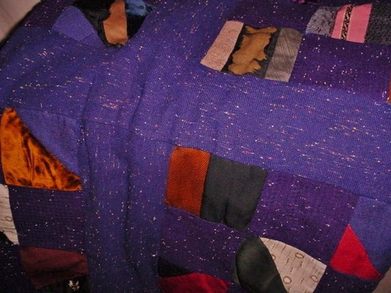 Antique Fabric Quilt For Craft Project or Repurpose Navy Blue Wool with Multi Color Inclusions Late Victorian Vintage Scraps 4874