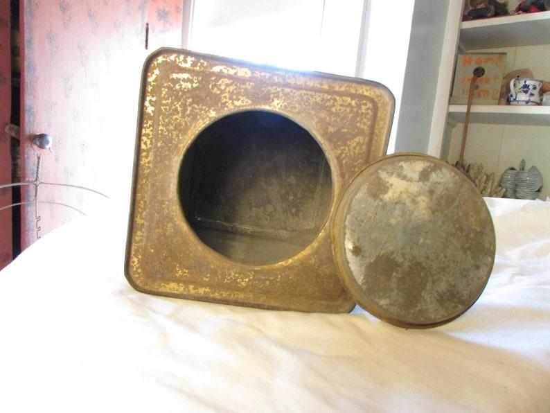 Large Washington Mills Emery Litho Tin Can Box Period Original Item Antique Vintage 6480