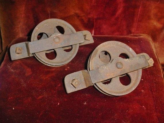 image 0 - Antique Barn Door Rollers Hangers Pair Vintage Sliding Door Etsy