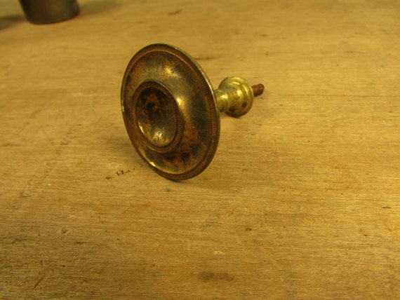 Antique Brass and Sheet Iron Federal Classical Empire Small Single Tie Back Picture Mirror Hanger 5744