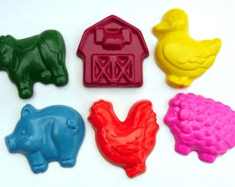 Farm Party crayon set of 6 crayons by Scribblers Crayons
